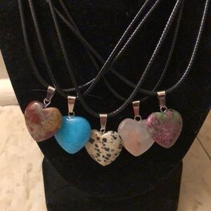 Heart Stone Pendant Necklaces